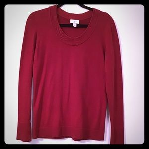 Red Ann Taylor Loft Sweater Knit Pullover